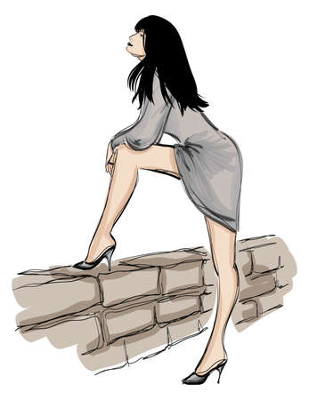 SKETCH. fashion girl. Hand-drawn fashion model Stock Vector - 13099871