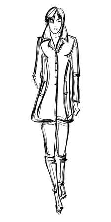 SKETCH  fashion girl  Hand-drawn fashion model Vector