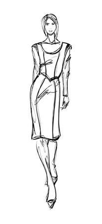 SKETCH  fashion girl  Hand-drawn fashion model Vector