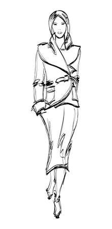 SKETCH  fashion girl  Hand-drawn fashion model Stock Illustratie