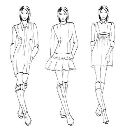 SKETCH. fashion girl. Hand-drawn fashion model Vector