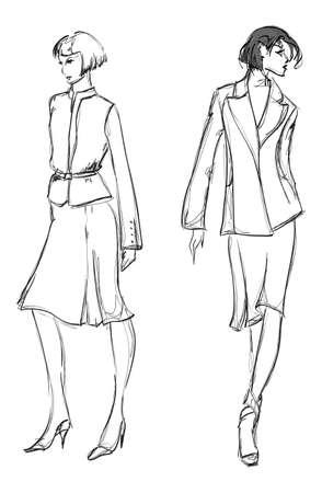 SKETCH. fashion girl. Hand-drawn fashion model Stock Vector - 13708327