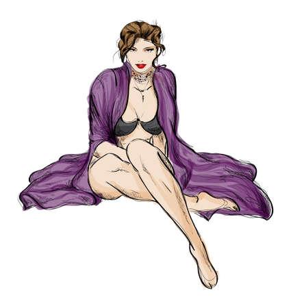 sexy girl posing: SKETCH. fashion girl. Hand-drawn fashion model Illustration