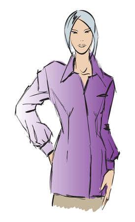 SKETCH. fashion girl. Hand-drawn fashion model Stock Vector - 13708315