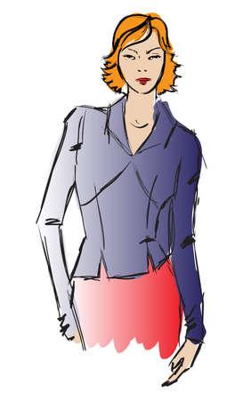 SKETCH. fashion girl. Hand-drawn fashion model Stock Vector - 13708319