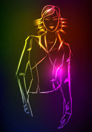 Hand-drawn fashion model from a neon. A light girl's Stock Vector - 13708344