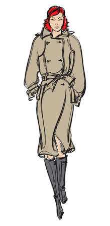 sexy skirt: SKETCH. fashion girl. Hand-drawn fashion model Illustration