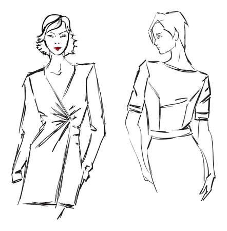 high fashion model: SKETCH. fashion girl. Hand-drawn fashion model Illustration