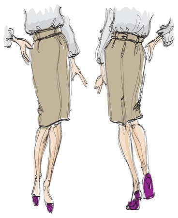 SKETCH. fashion girl. girl in a skirt and high heels shoes Vector
