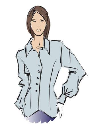 SKETCH. fashion girl. Hand-drawn fashion model Stock Vector - 14015987