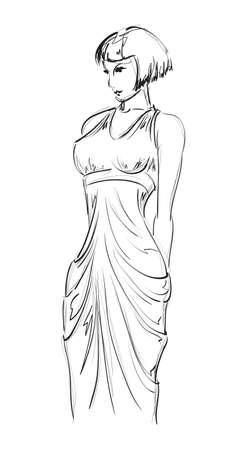 high fashion model: SKETCH  fashion girl  Hand-drawn fashion model Illustration