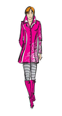 high fashion model: Chica de moda SKETCH a mano que la modelo Vectores