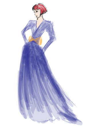 dress sketch: SKETCH. fashion girl. Hand-drawn fashion model Illustration