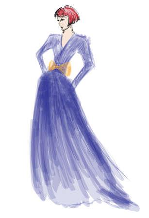 head-dress: Szkic. fashion girl. Ręcznie rysowane modelka Ilustracja