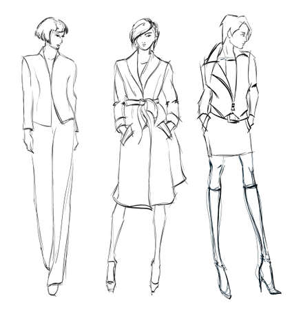figurines: SKETCH  fashion girl  Hand-drawn fashion model Illustration