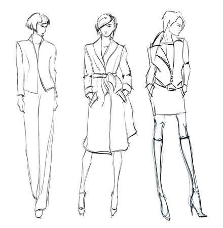 SKETCH  fashion girl  Hand-drawn fashion model Illustration
