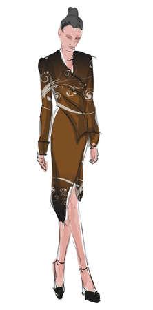 Fashion girl SKETCH Hand-drawn fashion model