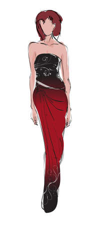 sketch: SKETCH  fashion girl  Hand-drawn fashion model Illustration