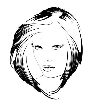 tatouage visage: visage beaut� fille Illustration