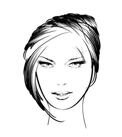 tattoo face: beauty girl face Illustration
