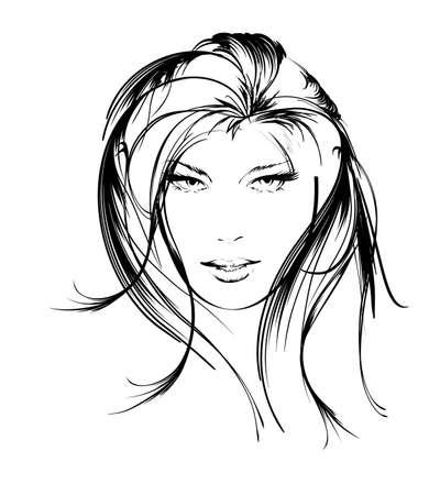 beauty girl face Vektorové ilustrace