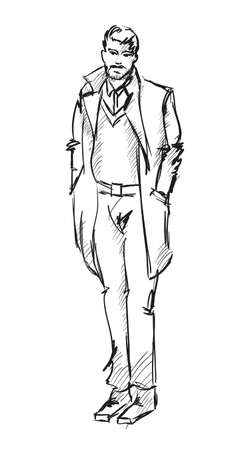 Sketch. Handsome stylish man showcasing street fashion Vector