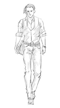young man jeans: Sketch. Handsome stylish man showcasing street fashion