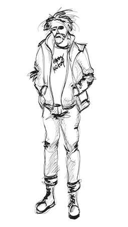relaxed man: Sketch  Handsome stylish man showcasing street fashion