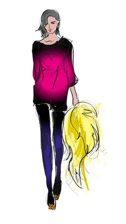 high fashion model: SKETCH ni�as de moda Vectores