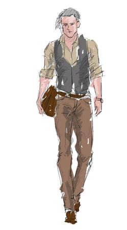Dibuje hombre guapo elegante mostrando calle de la moda