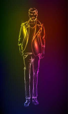moda casual: Un hombre de luz Vectores