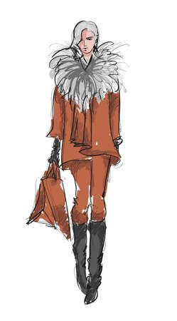 moda casual: SKETCH ni�as de moda Vectores