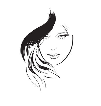 beauty salon face: beauty girl face Illustration