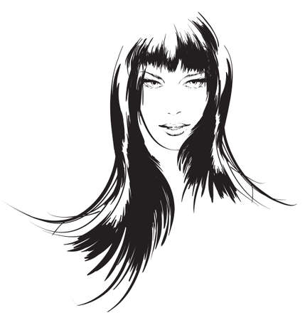 black hair: beauty girl face Illustration