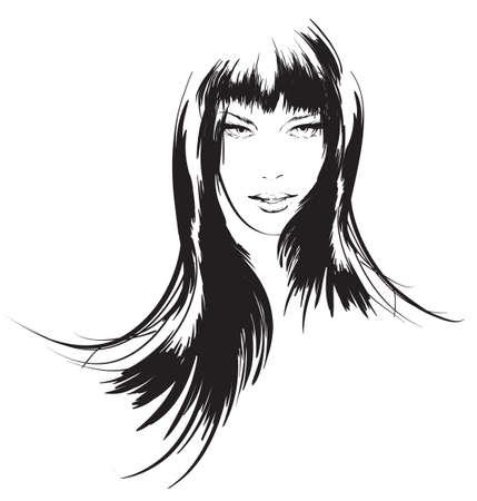 cabello negro: belleza cara chica