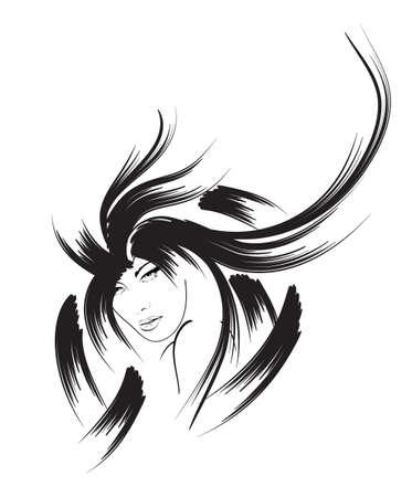 black hair: beauty girl face Illustration