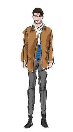 male hair model: Sketch. Handsome stylish man showcasing street fashion