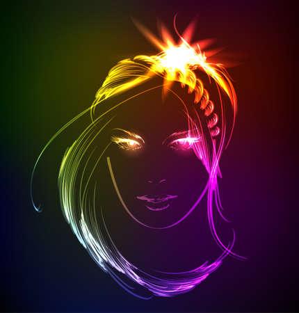 cara de niña de belleza Ilustración de vector