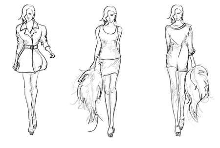 Sketch. mode meisjes Vector Illustratie