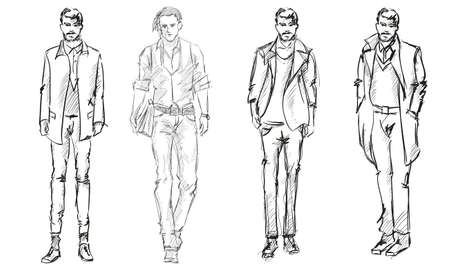 Sketch. Handsome stylish man showcasing street fashion Vector