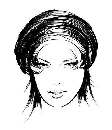 belleza cara chica Ilustración de vector