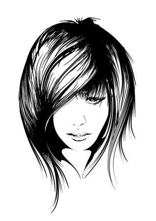beauty girl face Stock Illustratie