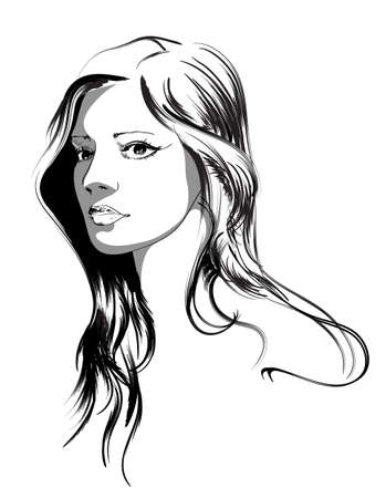 attractive female: beauty girl face Illustration