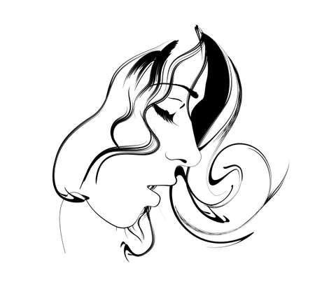 zwart wit tekening: schoonheid meisje gezicht