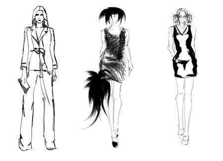 SKETCH  fashion girls Vector