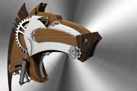 La testa del cavallo di legno e metallo