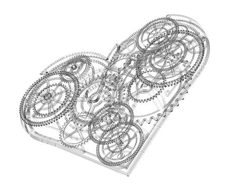Heart symbol made out of cogs and gears