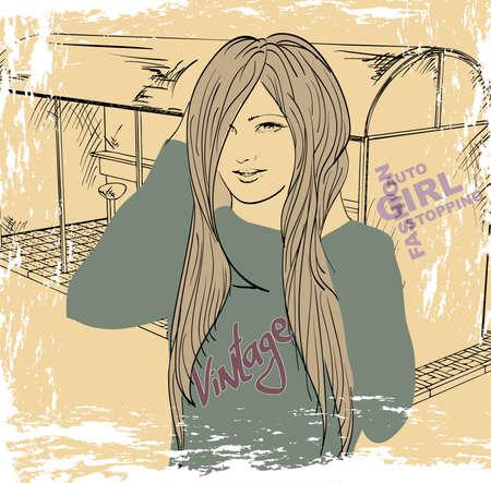 tramcar: Vector illustration of a fashion girl