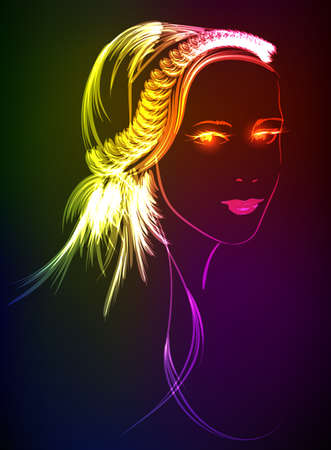 Hand-drawn fashion model from a neon. A light girl's Stock Vector - 23040436