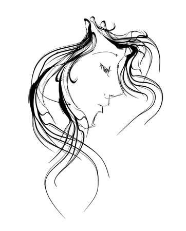 portrait: beauty girl face Illustration